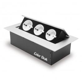 Розетка CD-3QS (silver) встраиваемая в столешницу (без провода)