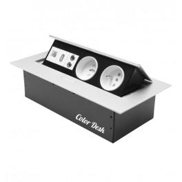 Розетка CD-2QS (silver) (USB, LAN) встраиваемая в столешницу (без провода)